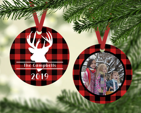 Personalized Photo Ornament -  Buffalo Plaid Ornament - Buffalo Plaid Deer - Christmas Ornament