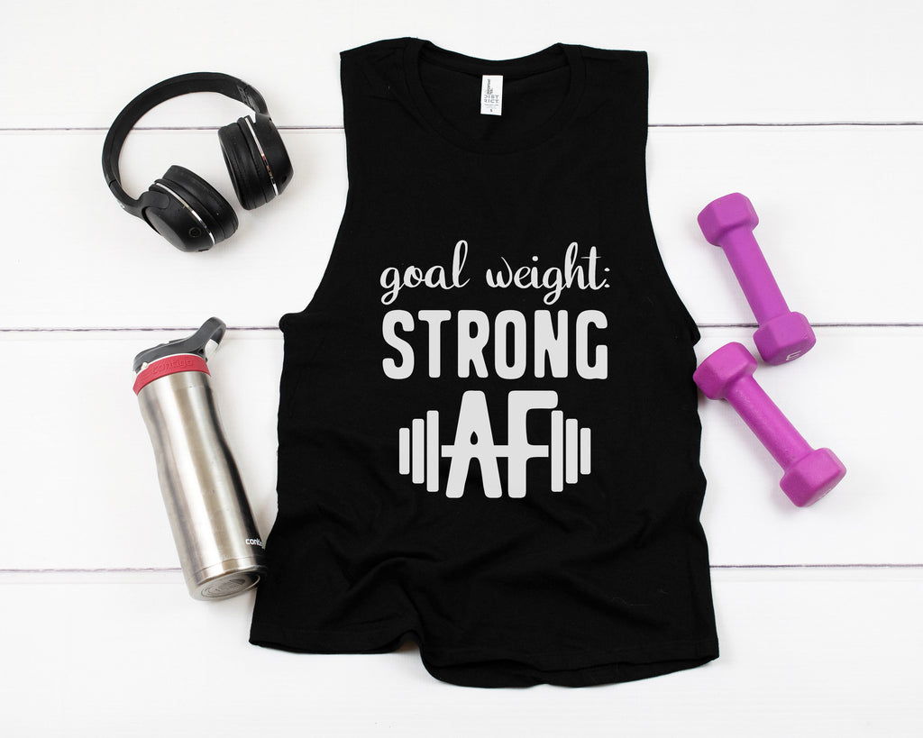 Goal Weight: Strong AF - Plus Size Women's Triblend Tank Top