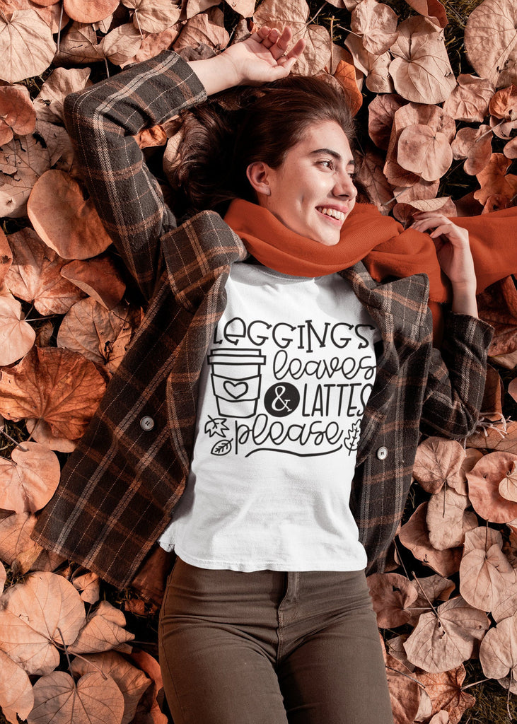 Leggings, Leaves, & Lattes Please - Women's Triblend Tshirt