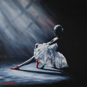 Ballerina with red shoes