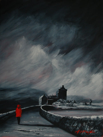 Eilean Donan girl in a Red coat