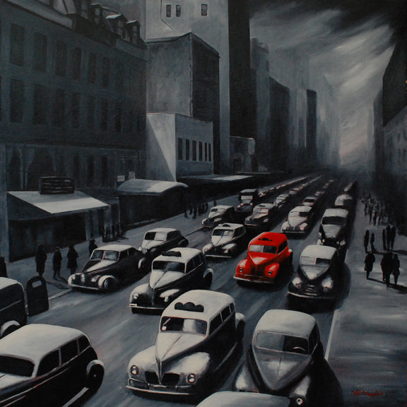 Little red taxi New York by J P McLaughlin
