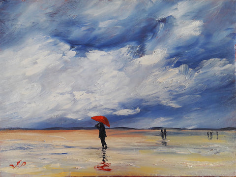 Saunton Beach Red Brolly