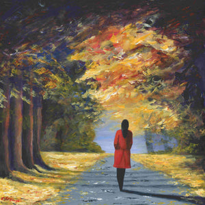 Canvas print. Red Coat Autumn