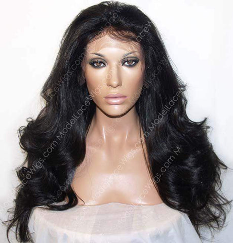 Off Black Lace Front Wig with Long Loose Waves