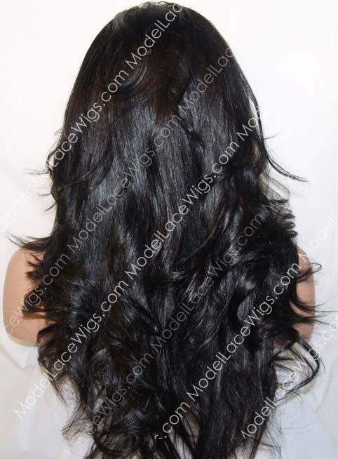 Off Black Full Lace Wig with Long Loose Layered Waves