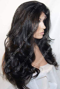 Rige Side View of Off Black Full Lace Wig with Long Loose Layered Waves