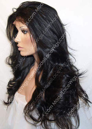 Left Side View of Off Black Full Lace Wig with Long Loose Layered Waves