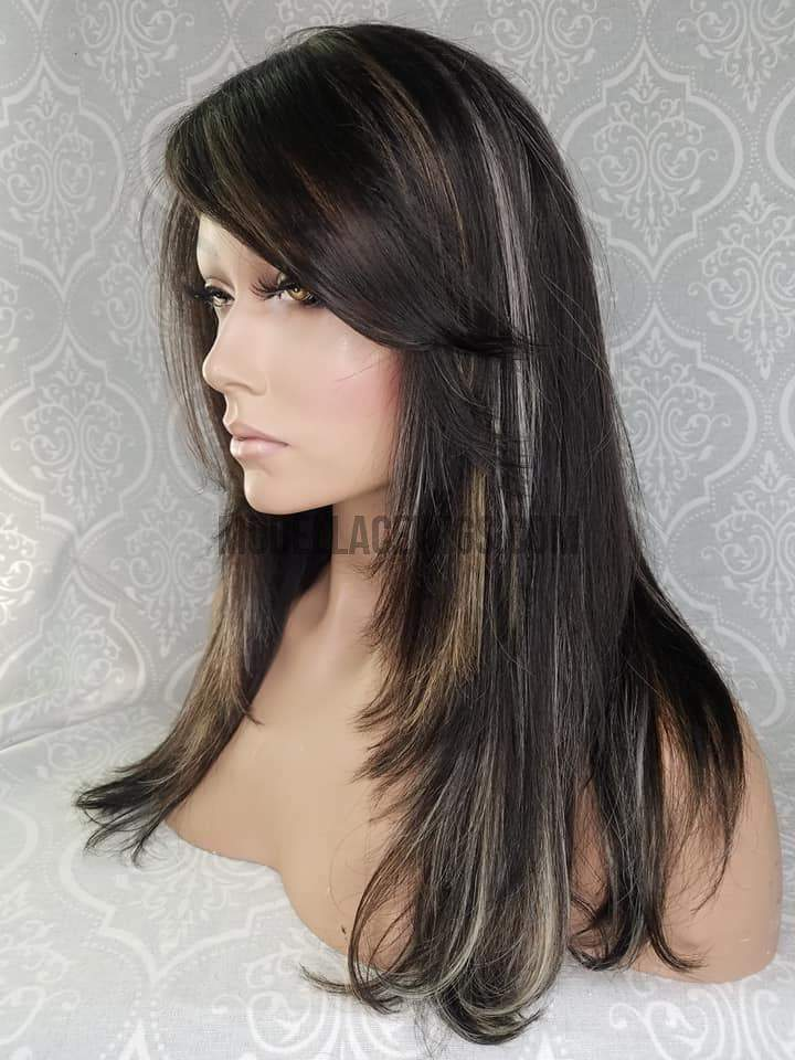 lace front wig with blonde and silver highlights