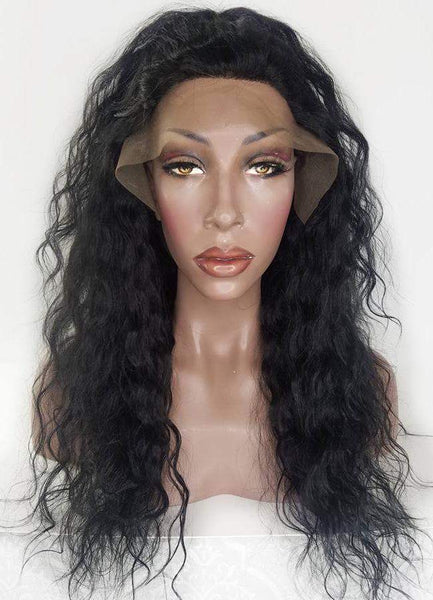 wave lace front wig in half ponytail