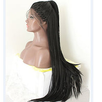 Synthetic handmade braided lace front wig #1b 24inches