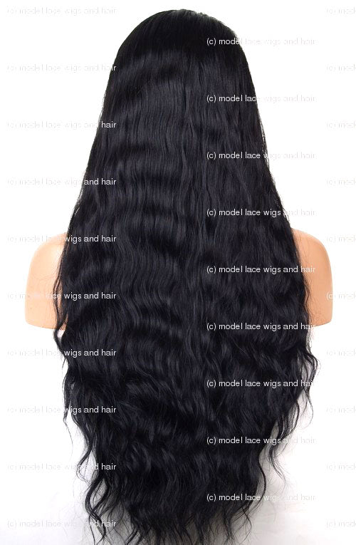 Jet Black Wavy Full Lace Wig | Model Lace Wigs and Hair