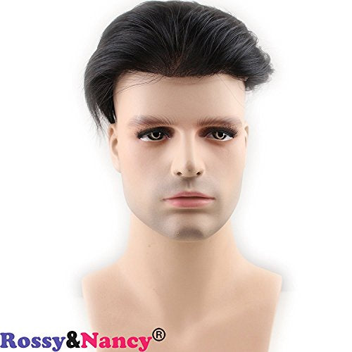 Best European Remy Human Hair Man Toupee Short Natural Black Replacement Hair Pieces Wigs for Men