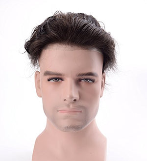 Men's Toupee Human Hair Pieces for Natural Hair Replacement Darkest Brown Color 1B (6 Colors Available)