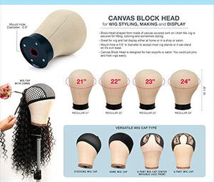 "Studio Limited Canvas Block Head DIY Wig Making Starter Kit 12pcs (23"") Mannequin Head Wig Display and Stand for Wig Styling"