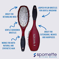 Spornette Super Looper Wig Brush #215 Cushioned & Looped Bristles for Hair Extensions, Hair Pieces, Toupees & Weaves. Brushing, Styling & Detangling Natural & Synthetic Hair