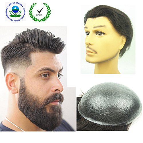 "PU Skin Toupee for Men, N.L.W. European Human Hair Pieces for Men with 10"" x 8"" PU Thin 0.04cm Skin, 1B Off Black"