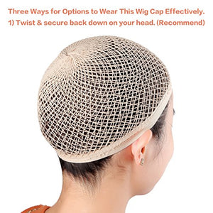 2 Pack Long Wig Caps, Natural Nude Mesh Net Wig Cap, Open End Wig Cap for Long and Short Hair