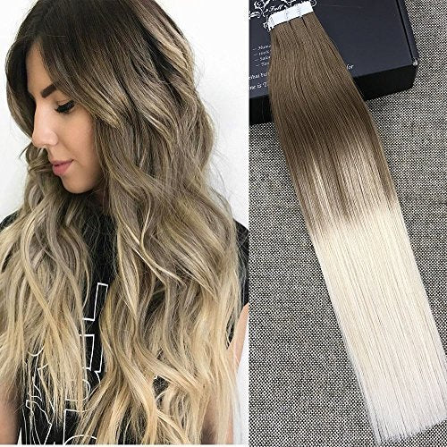 "Full Shine 20"" Tape Extensions 100 Human Hair Balayage Ombre Hair Extensions Color #8 Fading to #60 Plautinum Blonde Skin Weft Tape in Hair Extensions 50g 20 Pcs Per Package"