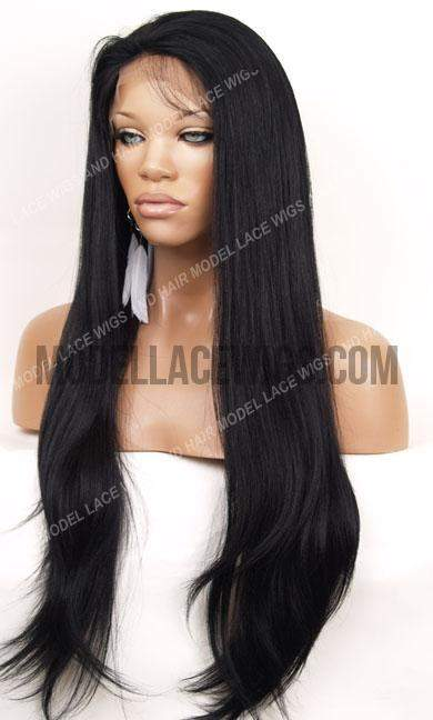 Jet Black Yaki Full Lace Wig | Model Lace Wigs and Hair