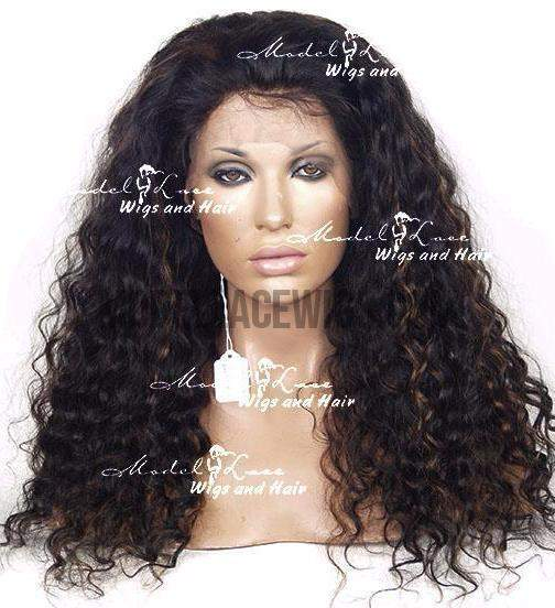Black Lace Wig with Highlights | Model Lace Wigs and Hair