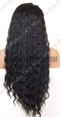 Long Wavy Jet Black Full Lace Wig | Model Lace Wigs and Hair