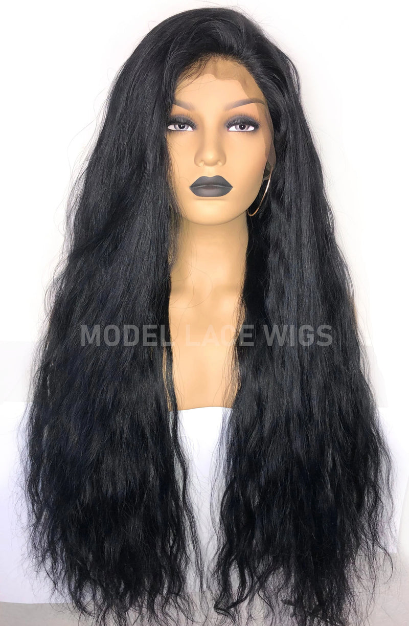 Long Full Lace Wig Jet Black | Model Lace Wigs and Hair
