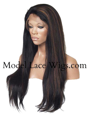 Custom Full Lace Wig (Rachel) Item#: 19 • Yaki Texture with Highlights