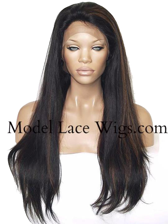 Yaki Full Lace Wig with Highlights | Model Lace Wigs and Hair