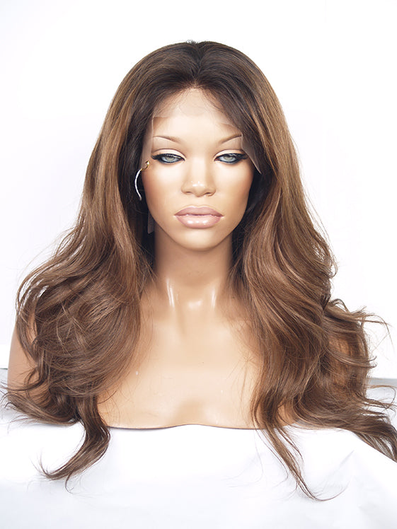Brown Ombre Auburn Full Lace Wig | Model Lace Wigs and Hair