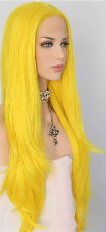 Neon Yellow Synthetic Lace Front Wig Item#S896