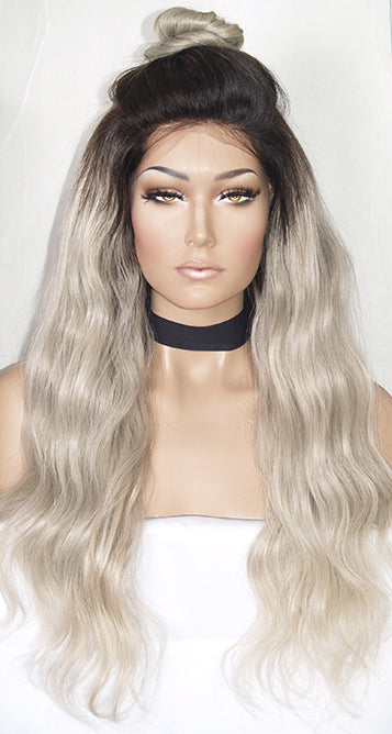 Ash Blonde with Dark Roots Full Lace Wig | Model Lace Wigs and Hair