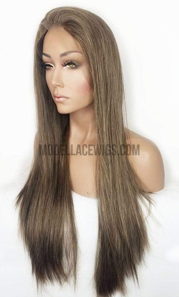 ash brown synthetic lace front wig