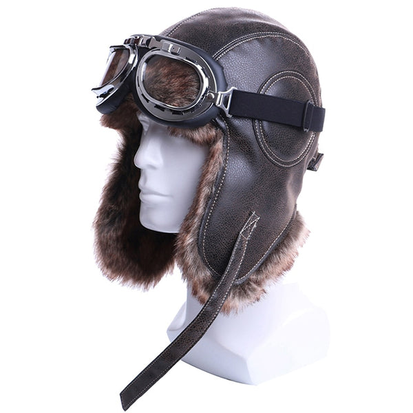 Bomber Pilots Hats/Caps Plush Earflap With Goggles Unisex Trapper Aviator