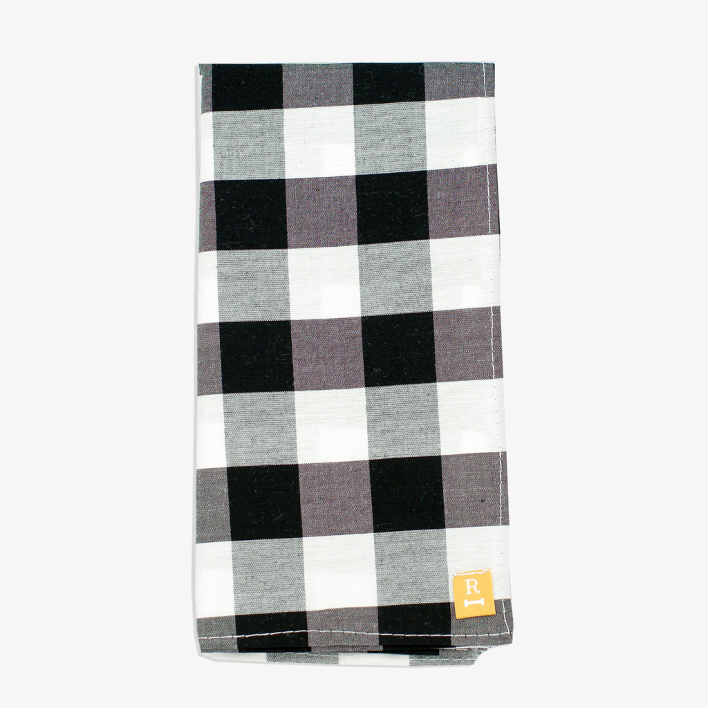 Black and White Check Dog Bandana