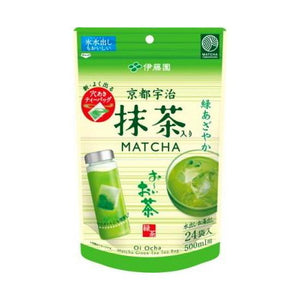 Ohi ocha green tea bags with matcha 24bags ( for 500ml bottles) 伊藤園 京都宇治抹茶入りお〜いお茶 500ml用パック 24袋