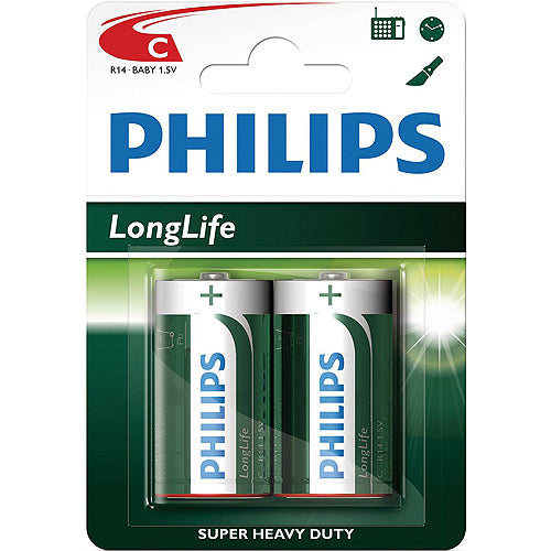 2 Pack C Size Philips Batteries