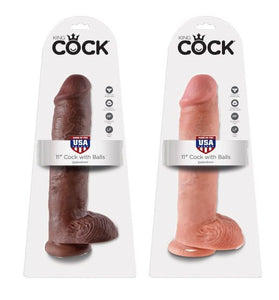 "King Cock 11"" Cock with Balls-Flesh"