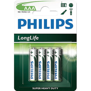 4 Pack AAA Size Philips Batteries