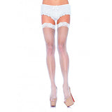 Leg Avenue Fishnet Stockings with Lace Top-Red