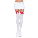 Leg Avenue Nylon Thigh Highs with Bow-Black