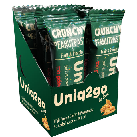 Uniq2go Crunchy Peanut Paste, 32g (1.08 fl oz) Bars, 12 Pack