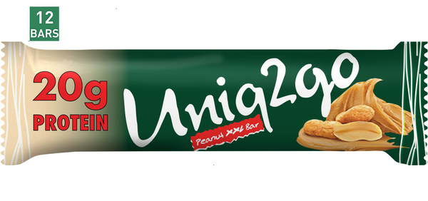 Uniq2go Peanut XXL Bar, 67g (2.27 fl oz) Bars, 12 Pack