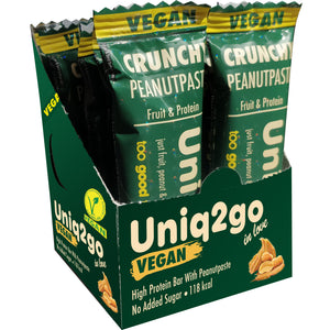 Uniq2go Vegan Crunchy Peanut Paste, 32g (1.08 fl oz) Bars, 12 Pack