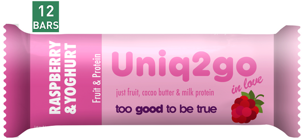 Uniq2go Raspberry & Yoghurt Bar, 32g (1.08 Ounce) Bars, 12 Pack