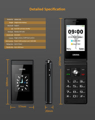 Flip Phone GSM Big Button Mobile Phone Dual Sim FM Radio Uniwa X28 Cellphone - astore.in