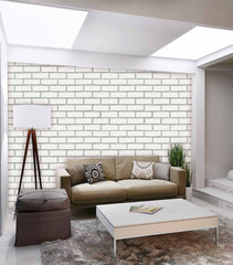 Wallter Brick Design Wallpaper White 3D Waterproof Roll - astore.in