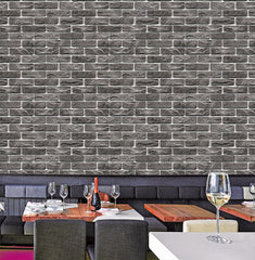 10 Pcs/ Lot Wholesale Brick Design Wallpaper Black Vintage 9.5 Meter Roll - astore.in