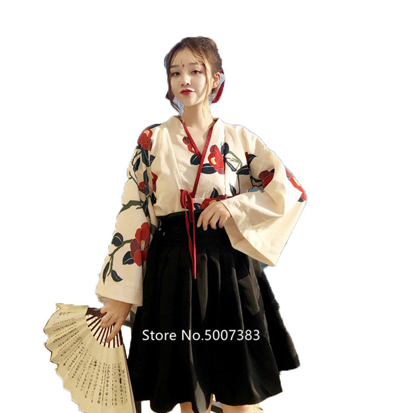 Japanese traditional Floral Kimono Top Skirt set - astore.in