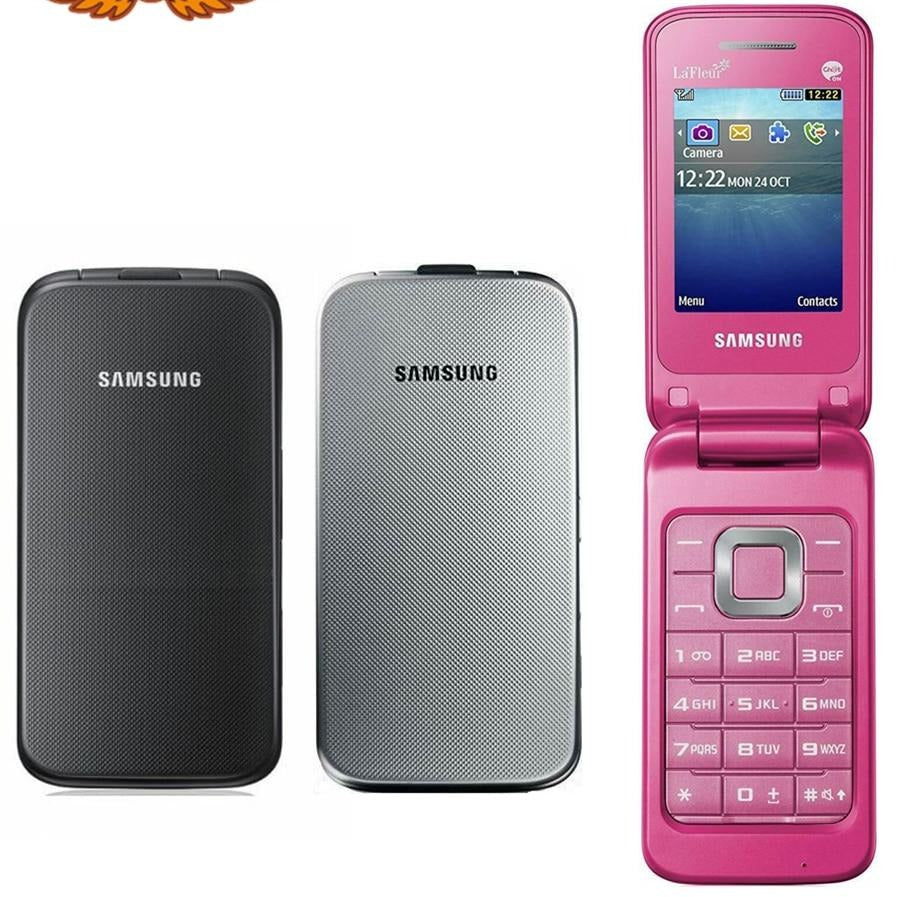 Original Samsung C3520 Unlocked 2.4 Inch English Keyboard Only 3G WCDMA 1.3MP Flip Mobile Phone Refurbished Cellphone - astore.in